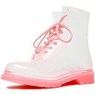 Mocasor Women's Clear Jelly Rain Boots Lace up Pink Transparent Ankle Wellies Plus Size Wellington Shoes for Ladies (5 UK/38 EU/38 Asian)