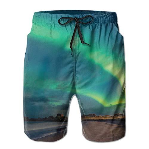 WANGKG Men's Big and Tall Swim Trunks Beachwear Drawstring Summer Holiday,Amazing Aurora Borealis Starry Night Landscape Norway,3D Print Shorts Pants,XX-Large