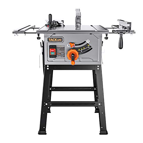 TACKLIFE Table Saw, 10-Inch 15-Amp 4800RPM Table Saw, 31-1/2'' Rip Capacity, 45°Bevel Cutting, Aluminum Extension Table, Adjustable Depth DIY Tool, Jobsite Table Saw with Stand