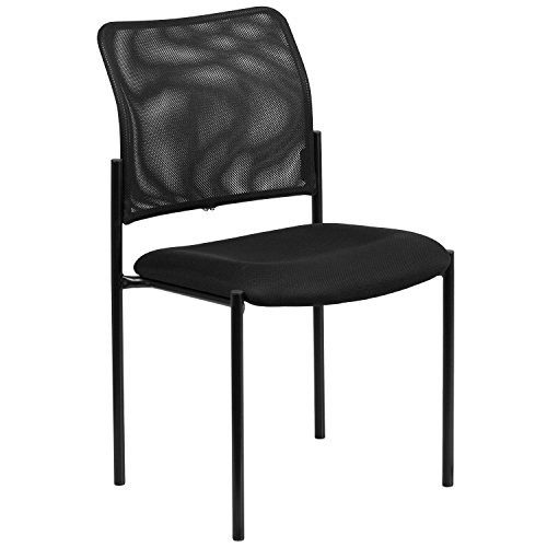Flash Furniture Comfort Black Mesh Stackable Steel Side Chair