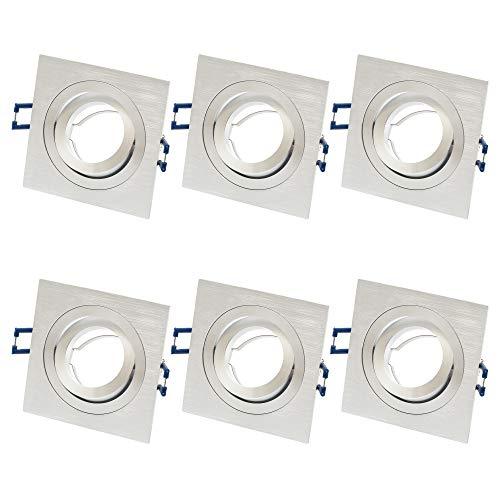 6x ALU Einbaustrahler GU10 Set – 6 Stück Aluminium Einbaurahmen Eckig in Silber gebürstet Optik Inkl. GU10 Fassung für LED oder Halogen Leuchtmittel, 30° Schwenkbar, Eckig, 230V