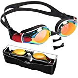 Aegend Swim Goggles, Flat Lens Swimming Goggles with Adjustable Nose Pieces, No Leaking