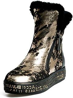 79292f19d Yaloee Women's Snow Boots Shearling Keep Warm Winter Platform Zipper Print  Wool Cotton Boot