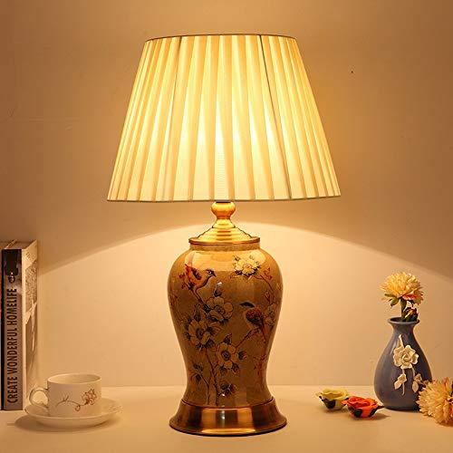FHUA Lámpara Escritorio Lámpara Moderna China Retro de cerámica lámpara de Mesa Simple American Sala de Estar Alta Sala de Estar Villa Dormitorio mesita de Noche lámpara (Color : Green)