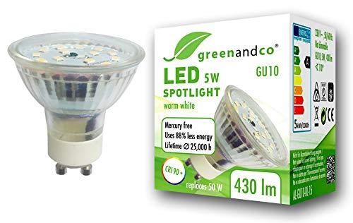 Spot LED greenandco® IRC90+ 3000K 110° GU10 5W (corresponde a 50W) 430lm SMD LED 230V AC, sin parpadeo, no regulable