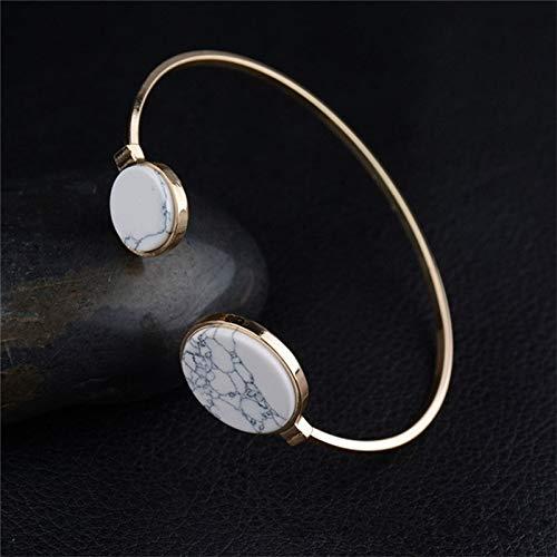 SHL HYF Faux Marmor Stein Runde Geometric Armreif Gold Circle-Stulpe-Armband-Armband (weiß) (Farbe : White)