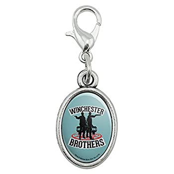 GRAPHICS & MORE Supernatural Winchester Brothers Antiqued Bracelet Pendant Zipper Pull Oval Charm with Lobster Clasp