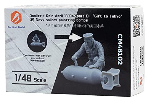 カーディナルモデル 1/48 アメリカ海軍 航空武器整備員 爆弾落書き中 ドーリットル空襲 1942年4月18日 東京への贈り物 レジンキット CDM48102