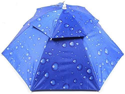 MJMJ sombrilla Gorra De Paraguas De Doble Capa A Prueba De Viento Y Transpirable Protección UV Al Aire Libre Paraguas De Pesca Paraguas De Uso De Cabeza Paraguas Soleado(Color:Azul Oscuro)