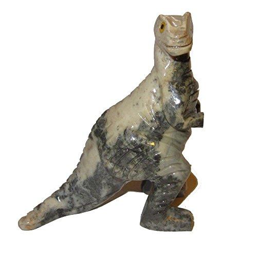 Animal Dinosaurio esteatita 01Gris marrón Tyrannosaurus Rex Figura Estatua de Cristal, estándar 3'