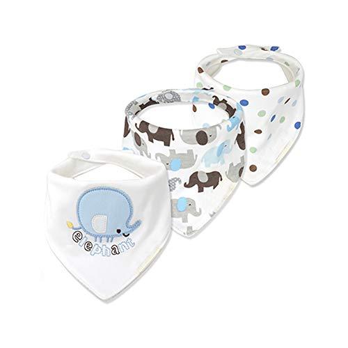 3pcs / Set del bebé del pañuelo Baba Baberos para la Ducha Los niños y niñas de algodón Unisex del bebé fijada para la dentición y el babeo Suave e hipoalergénico Absorbente (Elefante Azul)