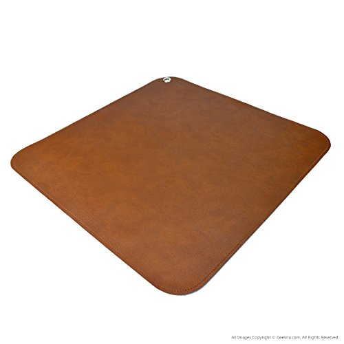 Linkidea Leather Splat Mat for Under High Chair Floor Protector for Kids - Reusable Infant High Chair Mat Food Splash Spill Mats, Waterproof Portable Picnic Blanket Outdoor Mat (Brown)