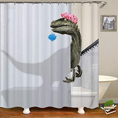 WAZA 180x180cm Duschvorhang Motiv Dinosaurier Anti-Schimmel Wasserdicht Antibakteriell Polyester