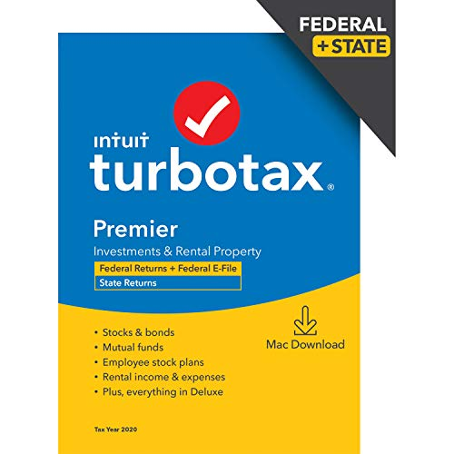 TurboTax Premier 2020 Desktop Tax Software, Federal and State Returns + Federal E-file [Amazon Exclusive] [MAC Download]