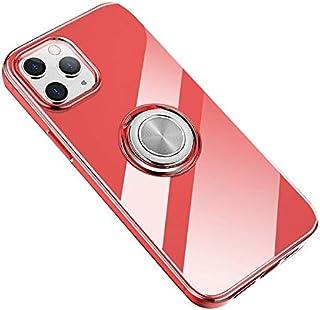 iPhone 12 Pro Max クリアケース/カバー TPU スマホリング付き ソフトカバー 半透明ケース/カバー アイフォン12プロマックス ソフトケース 落下防止 ケース/カバー[iPhone 12 Pro Max(クリアレッド)]
