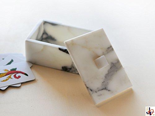 Arabesque 10–Estuche para tarjetas de juegos de mármol Blanco de Carrara