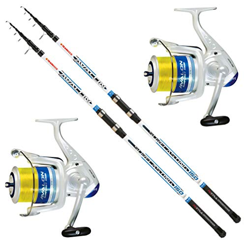 Trabucco Kit SURFCASTING Composto da 2 Canna Avalon 4 m 150 Gr + 2 Mulinello Avalon 6500 con Filo
