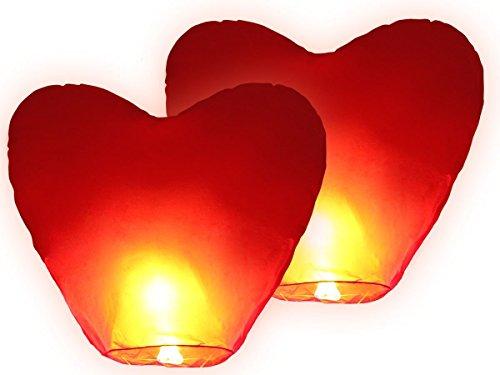 Set di 2 Lanterne cinesi volanti | Cuori Rossi | 90 x 50 cm | Ideali per Matrimonio | San Valentino | Anniversario | Compleanno | Capodanno