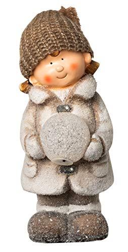 Wichtelstube-Kollektion XL 35cm Dekofigur mit LED Schneeball Winterkind Weihnachten Deko Figur Garten Weihnachsdeko