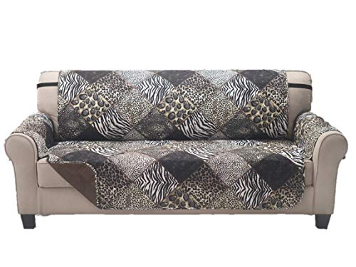 Deluxe Reversible Couch Slipcover Furniture Protector, Seat Sofa, Chair, Loveseat Quilted, Anti-Slip 2 Inch Strap, Machine Washable, Slip Cover Throw for Pets, Dogs, Cats, Kids - SAFARI / Coffee