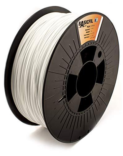 Basicfil PLA 1.75mm, 1 kg filament pour imprimate 3D, Blanc Signal