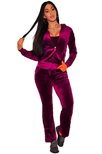 YOUJIA Femmes Ensemble de Sportwear Survêtement en Velour Sweatshirt Hoodies + Casual Pantalon (Violet, CN XL)