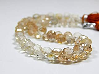 """Jewel Beads Natural Beautiful jewellery Imperial Topaz Faceted Onion Beads/Golden Imperial Topaz Beads 100 Persent Natural Gemstone Size 6x5.4 mm8"""" Inches Strand.Code:- BB-16669"""