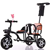 JHGK Triciclo Infantil De Empuje Manual, Triciclo Doble De Acero con Alto Contenido De Carbono Bicicleta De Dos Plazas Rueda Sólida Triciclo Infantil Tricycle,Negro