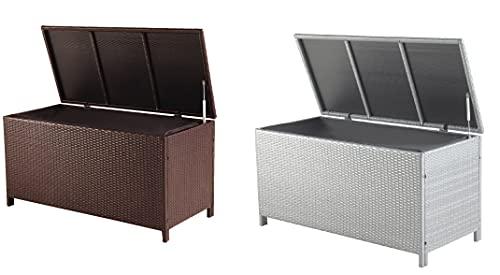 Large Poly Rattan Waterproof Outdoor Garden Deck Storage Organisation Solution Box Chest Ottoman (Grey)