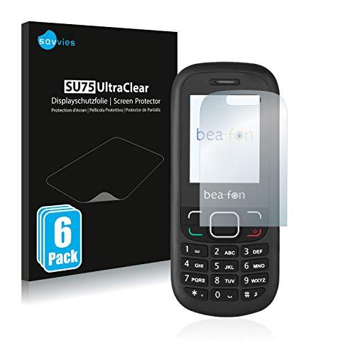 Savvies 6X Schutzfolie kompatibel mit Beafon C40 Displayschutz-Folie Ultra-transparent