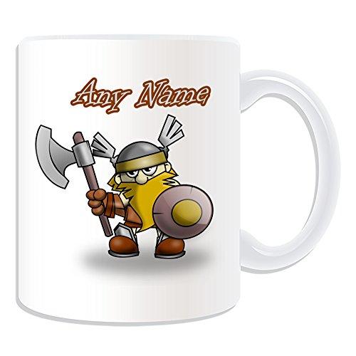 UNIGIFT Regalo personalizado – Taza de guerrero vikingo (diseño de cuento animado, blanco), cualquier nombre/mensaje en su único – Casco de escudo de hacha