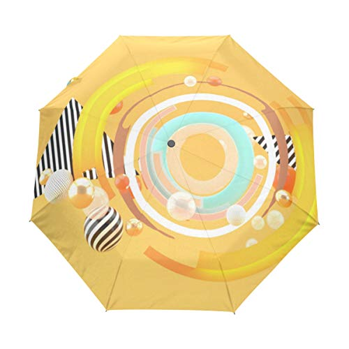 XUGGL Gorgeous Parasol For Gift Yellow 3D Stereoscopic Anti-uv Polyester With Cover Automatic Open Close For Office Worker