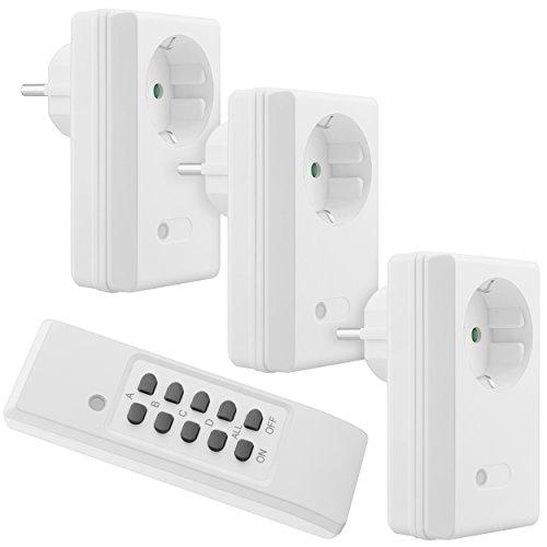 Amazon.de - 4-channel 1100 Watt radio plug socket set: 3x radio plug and 1x remote control EU