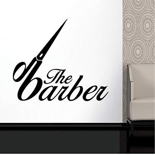 MRQXDP Barber Shop Sticker op maat Decal Posters Vinyl Wall Art Decor Ramen Decoratie Haircut Shavers Glass Decals 50x58cm Muursticker