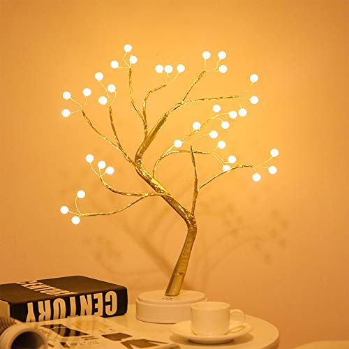 N / D Desktop Bonsai Tree Light, with 36 Pearl LEDs, Touch Switch, USB/Battery Power, DIY Artificial Tree Light, Used for Wedding Christmas Interior Decoration Lights (36led Pearl Warm White)