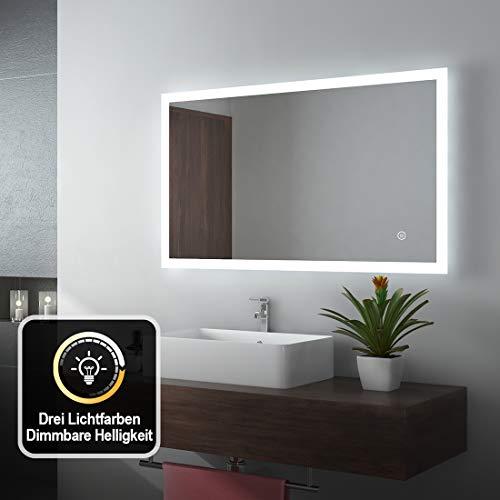 EMKE LED Badspiegel 100x60cm Badezimmerspiegel mit Beleuchtung 3 Lichtfarbe 3000-6400K kaltweiß Neutral Warmweiß Lichtspiegel Badezimmerspiegel Wandspiegel mit Touchschalter IP44 energiesparend