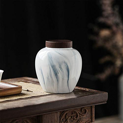 TongN Sugar Bowls Japanese Traditional Tea Caddy,ceramic, Marble Texture, Portable Storage Tank with Sandalwood Lid