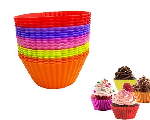 Jingyukj Moldes silicona reposteria-Silicone Cupcakes Moldes-20 Muffin Cases Reutilizable,Molde silicona horno,para Magdalenas,Mollete,de silicona Moldes de horneado