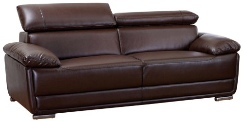 Hot Sale AC Pacific Bonded Leather Kyle Sofa, Dark Brown
