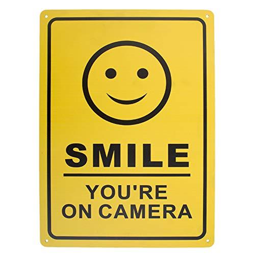 aspire Premium Aluminium Smile You're on Camera vidéo Surveillance Panneau pour la Maison, Maison et Professionnelles, Smile/1pcs, 10\