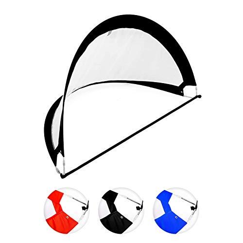Fußballtor / Torwand - Größe 121x81x81cm inkl. Tragetasche & Heringen / verstärkter Rahmen für hohe Stabilität - das ideale Pop Up-Tor bzw. Goal (Falttor / Spieltor) zum Fußball-Training Schwarz