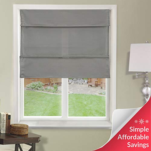 Chicology Cordless Magnetic Roman Shades / Window Blind Fabric Curtain Drape, Light Filtering, Privacy - Daily Grey, 48'W X 64'H
