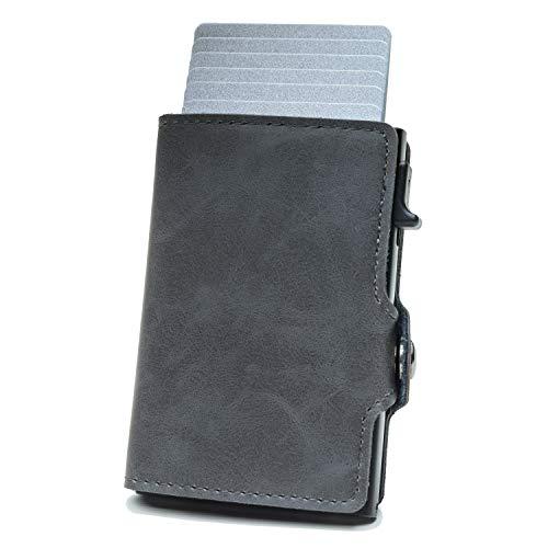 Geldbörse Herren | Portemonnaie Herren | Portmonee Herren | Geldbeutel Herren | Kartenetui Herren | Karten Etui | Slim Wallet | Card Holder in klein / Mini mit RFID Schutz auch für Damen | Grau