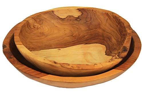 ANDALUCA Teak Wood Hand Carved Bowls Set of 2