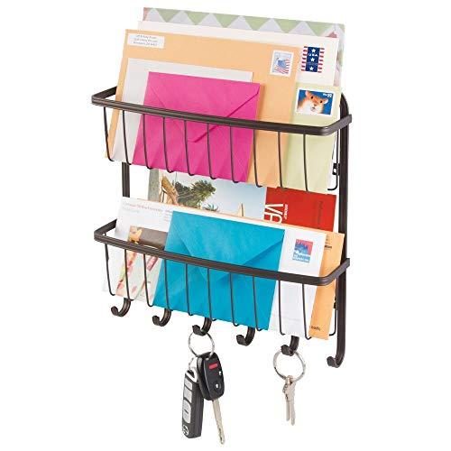 mDesign Organizador de cartas con colgador de llaves en acero - Estante de pared para ordenar llaves con 5 ganchos - Moderno cuelga llaves con doble repisa para correo y más - color: bronce