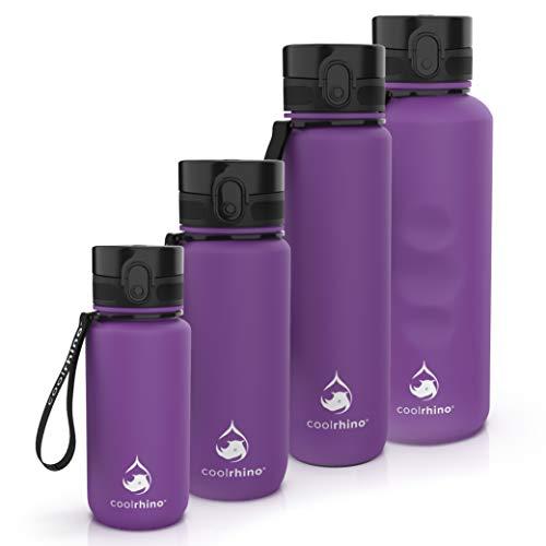coolrhino Trinkflasche 350ml für Kinder, Sport, Schule, Fitness & Outdoor - Wasserflasche auslaufsicher und Bpa frei - Flasche für Kohlensäure geeignet (Rhino Lila, 350ml)