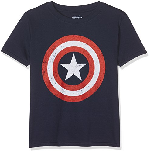 MARVEL Boys' Captain America Retro T - Shirt, Blue (Navy), 11-12 Years