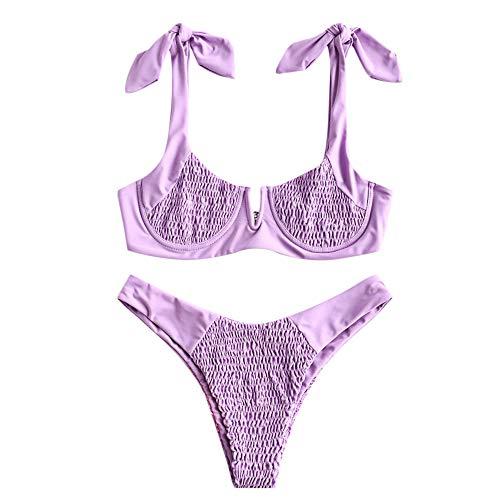 ZEZCLO - Bikini de dos piezas con corte en V para mujer Morado malva M