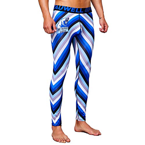 Yowablo Herren Run Tights Kompressionshose Lang Kompressionshose Speed Stride Tight Legging Farbig (XXL,1- Blau)