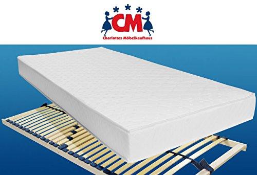 M.K.F. Matratze mit Lattenrost Sparset 90x200 Tonnentaschenfederkernmatratze mit Lattenrahmen 90 x 200 cm.